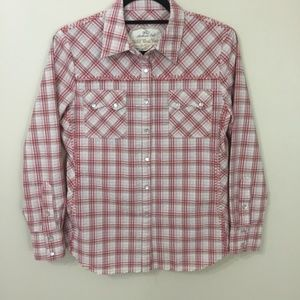 Cabi Wild West Wear Plaid Pearl Snap Top